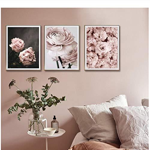Romántico Rosa Claro Flores de Peonías Pinturas en Lienzo Carteles Florales Impresiones Regalo de San Valentín Arte de la Pared Imágenes Dormitorio Decoración para el hogar 50 * 70 cm Sin marco