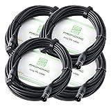 4er Set Pronomic XFXM-10 Mikrofonkabel (10m Länge, XLR female 3-pol - XLR male 3-pol, Stecker handgelötet, säure- und ölfest, Spannzangen-Zugentlastung) schwarz