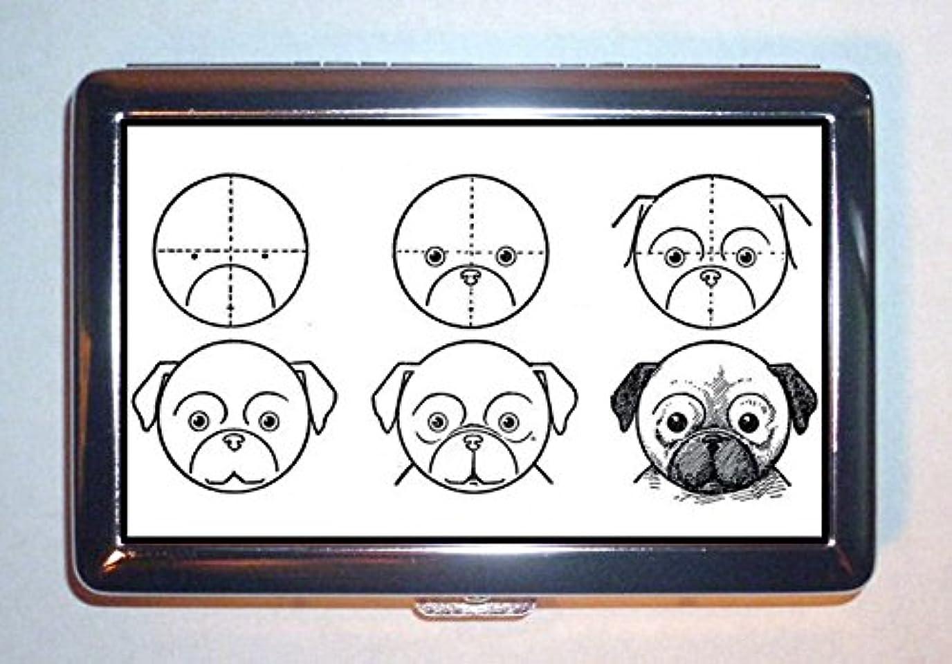徹底的に救援セラーc1910?How to Draw Pug犬、子供のアート:ステンレススチールIDまたはCigarettesケース( Kingサイズまたは100?mm )