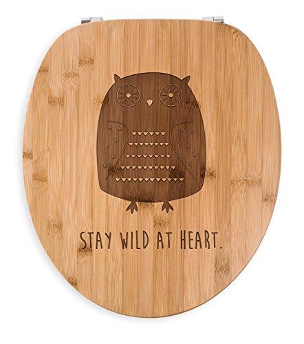 Mr. & Mrs. Panda Sitz, Holz, WC Sitz Eule Azteke mit Spruch - Farbe Transparent