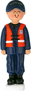 Personalized Coast Guard Christmas Tree Ornament 2019 - Protect Commander Military Brave Serviceman Security Marine Blue Uniform Safety Vest Proud USA Dog DSF DHS DOD - Free Customization