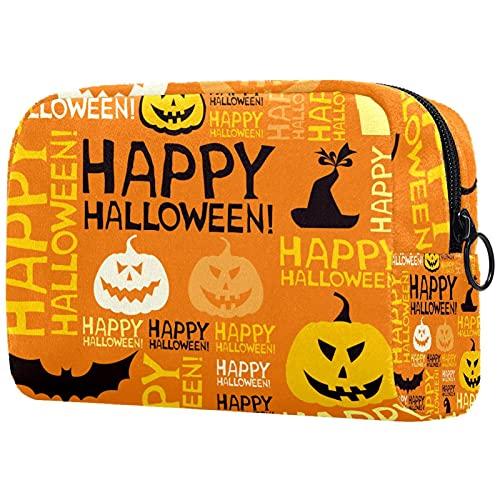 Neceser neceser cosmético viaje maquillaje organizador bolsa bolsa de lavado con cremallera Happy Halloween calabaza lámpara para accesorios de viaje esenciales