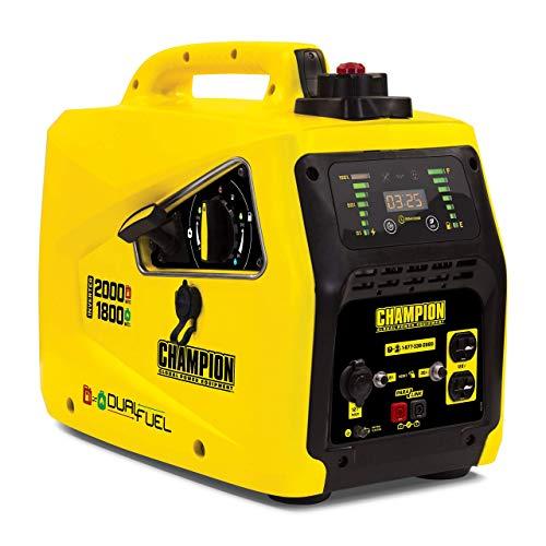 Champion Power Equipment 100402 2000-Watt Dual Fuel Parallel Ready Inverter Portable Generator, Yellow (Renewed)