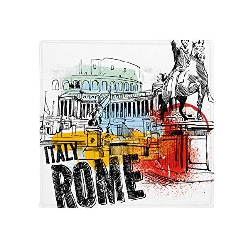 DIYthinker Italie Rome Paysage Théâtre Romain antidérapant Tapis de Sol pour Animal Domestique Porte de Cuisine de Maison carré 80 cm Cadeau