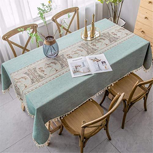 SONGHJ Ropa de algodón Simple Impermeable Borla Decorativa Mantel Rectangular Mesa de Comedor Cubierta Fiesta de cumpleaños en casa Paño de Mesa A 140 × 200cm