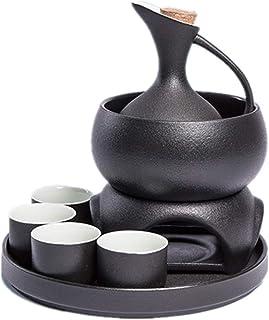 Juego de sake de cerámica japonesa de color canela negro de 8 piezas, juego de regalo de porción de sake de cerámica con calentador, con calentador, 4 tazas, 1 bandeja, olla calefactora de jarra.