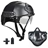 Willbebest PJ Type Airsoft Tactical Multifunctional Fast Helmet with Visor Goggles Version Black, Comes with a Half Face Metal Mesh Airsoft Mask