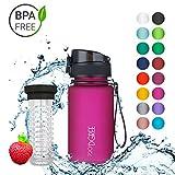 """720°DGREE Trinkflasche """"uberBottle"""" – 350 ml, 0,35 l, Pink - Neuartige Tritan Wasser-Flasche - Water Bottle BPA Frei - Ideale Sportflasche für Kinder, Fitness, Fahrrad, Sport, Fussball"""