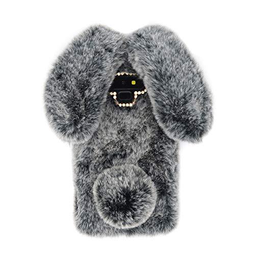 Omio for Samsung Galaxy Note 9 Rabbit Fur Case, Soft Handmade Fluffy Furry Cute Bunny Stylish Plush Rabbit Case Cover Warm Big Ear Bling Crystal Rhinestone Bowknot Ultra Light Shell for Galaxy Note 9
