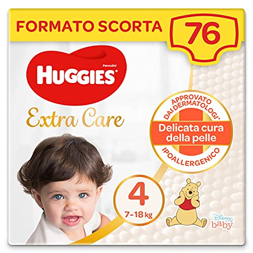 Huggies Extra Care Pannolini, Taglia 4 (7-18Kg), Confezione da 76 Pannolini