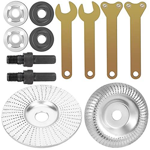 Qixuer 2 Stück Winkelschleifer, für Holz, Holzscheibe, Winkelschleifer, Holzscheibe, mit 2 Bohrfuttern, Adapter, Winkelschleifer, zum Polieren der Schleifmaschine