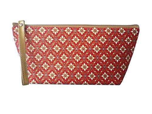 Ariyas thaishop trouss'à maquillage en coton avec imprimé thaï art rouge/blanc - 24 x 11 cm (l x h)