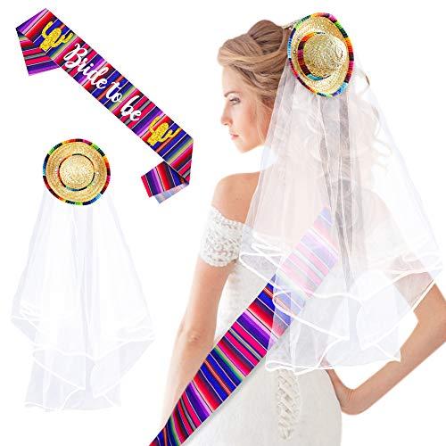Sombrero Veil Bachelorette, Final Fiesta Wedding Veil Bachelorette Party Decorations, Bride to Be Satin Sash, Mexican Theme Bridal Shower Party Favor, Bachelorette Party Veil for Bride