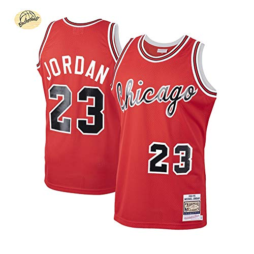 Michael Jordan Herren Classic Retro Basketball Trikots, 23 Bulls Stickerei Basketball Uniform, Jugend Active Sweatshirt Shorts locker und bequem (S-2XL)-red A-L