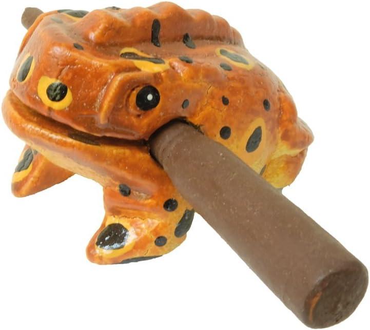 Unique Thailand 2 inch Hand Carved Wooden Frog Musical Instrument Tone Block Orange