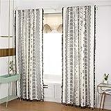 STYHO Cortina de ventana estilo rústico bohemio, de lino y algodón, con borlas, para sala de estar, 2 unidades, 150 x 240 cm