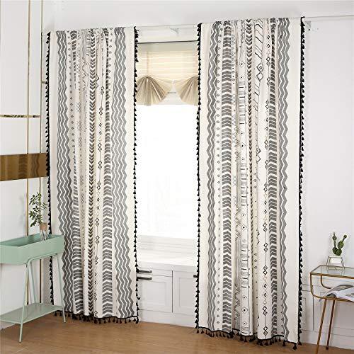 "YOMIMAX Bohemian Black Tassel Window Curtains,Cotton Linen Rustic Geometric Wavy Printing Drapes Rod Pocket Window Curtain for Kitchen (1 Piece,59""x 63"")"