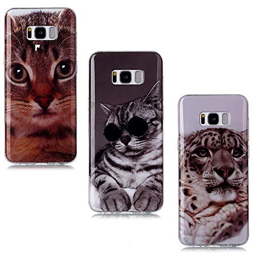 QC-EMART 3 Coques pour Samsung Galaxy S9 Motifs Imprimé, Samsung S9 Coque Silicone Transparente Souple TPU Ultra Fine Anti Choc Etui de Protection Jaguar Chat Jaune Chaton