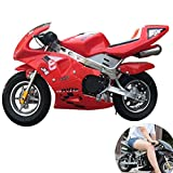 AFF 2 Tiempos 49cc Dos Ruedas pequeña Todoterreno montaña Mini Motocicleta niño Tarjeta de Gasolina ciclomotor al Aire Libre Juguete CS Accesorios de Combate,Rojo