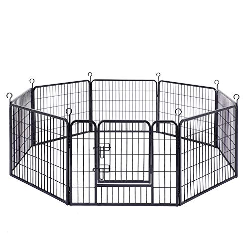 FEANDREA 8-Panel Pet Playpen, Iron Dog Cage, Heavy Duty Pet Fence, Puppy Whelping Pen, Foldable and...