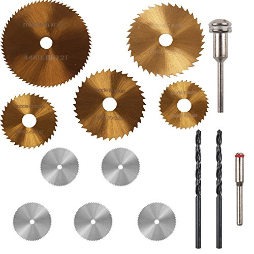 HSS Saw Blade, PROMMON 5 Pcs Ti-coated Saw Blades Rotary Tool & 5 Pcs Stainless Steel Wood Cutting Wheel Set Discs & 2 Pcs 3mm Twist Drill Bit for Rotary Tools (Pack of 12Pcs)