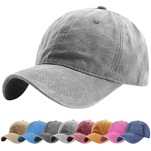 Tuopuda Gorra de Béisbol Classic Unisex Ajustable Washed Teñido Gorras de Béisbol de Algodón Sombrero de Deportes al Aire Libre (Gris)