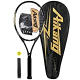 Aikang 27 inch Tennis Racket Professional Tennis Racquet,Good Control Grip,Strung with Cover,Tennis Overgrip, Vibration Damper (Black Gold)