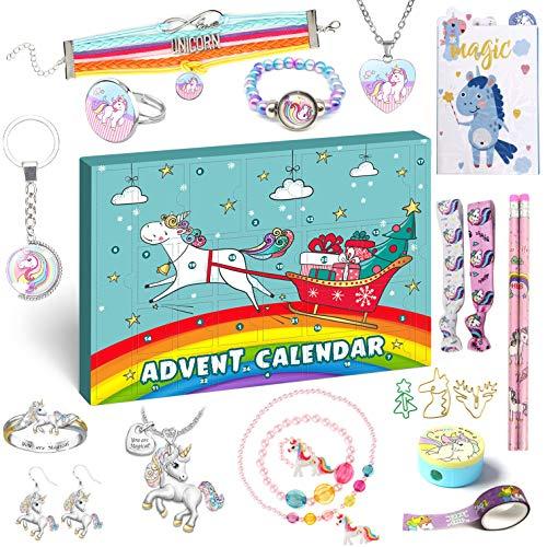 iZoeL Adventskalender Einhorn 2020 Weihnachtskalender Mädchen 24 tolle Überraschung Schmuck Schreibwaren Haarreifen Kalender ab 3 Jahren