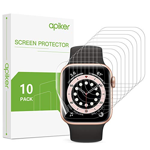 apiker 10 Stück Schutzfolie für Apple Watch Series 6/5/4 Series SE 40mm, Ultra Dünn Weiche Folie Kompatibel mit Apple Watch 6 SE 40mm Blasenfrei HD Klar Full Screen Hülle Fre&lich TPU Bildschirmschutz