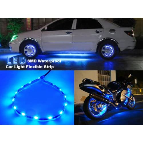 OrangeTag 5 Pieces 30cm 15 Leds SMD Waterproof Flexible Blue Light Strip Bar,car Light
