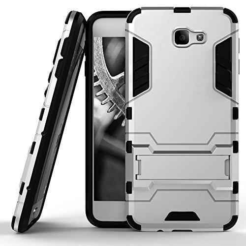 MYCASE Schutz Hülle Hülle für Samsung Galaxy J5 Prime / On5   Silber   Hard Cover mit Kickstand   Plastik Silikon Kunststoff TPU Schale Bumper Tasche Schutzhülle Handy Hülle