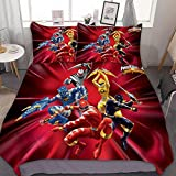 3D Pinted Lovely Soft/Breathable Bedding Sets,Cool Power Rangers,Anime 3 Piece Bedding Sets for Kids Teens Duvet Cover Set with 2 Pillow Cases 1 Comforter Sets,Full Size