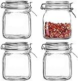 Lawei 4 tarros para preservar con tapa hermética de vidrio, frasco de almacenamiento de boca ancha, frasco de 1 litro