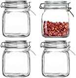 Lawei - Juego de 4 tarros de conserva con tapa hermética, tarro de cristal de boca ancha, 1 litro