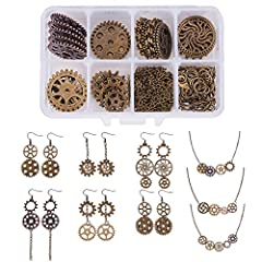 ❤CRAFT LEVEL - Jewellery making starter kit for beginners and expert Jewellery designers. Easy to create, fun to wear. ❤DIY MAKE 6 PAIRS STEAMPUNK GEARS EARRINGS & 3 GEAR NECKLACE - This kit contains everything you need to create 6 pairs of steampunk...