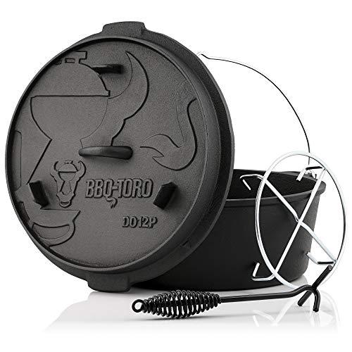 BBQ-Toro Dutch Oven Premium Serie I bereits eingebrannt - preseasoned I Verschiedene Größen I Gusseisen Kochtopf I Bräter mit Deckelheber ((D) - DO12P - 13,6 Liter, Topf ohne Füße)