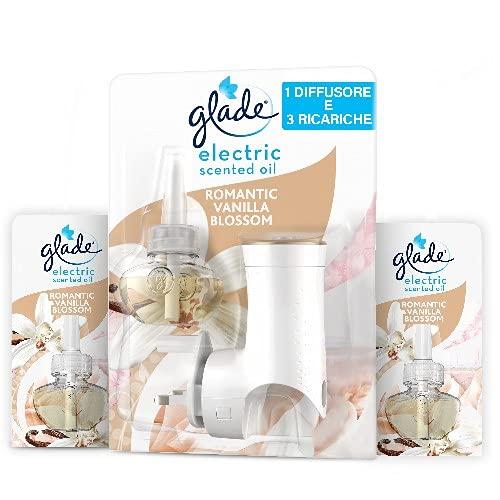 Glade Essential Oil, Diffusore per Ambiente Elettrico agli Olii Essenziali, Fragranza Romantic Vanilla Blossom, Confezione da 1 Base + 3 Ricariche
