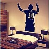 Pvc negro enorme estrella de fútbol Lionel Messi figura etiqueta de la pared de vinilo Diy Kids Livi...