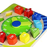 Toyshine Wooden Shape Sorting Blocks Teaching Clock with Geometry Numbers, 13 Pieces, Multi Color