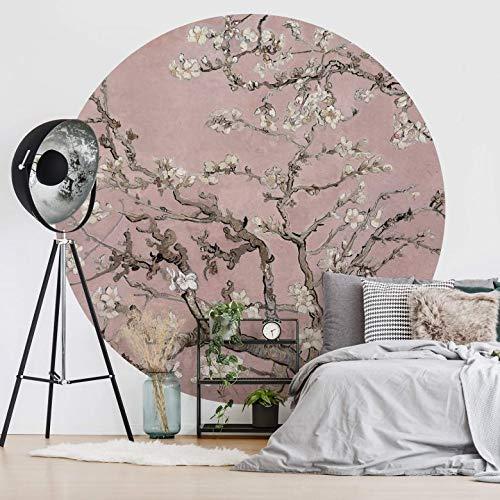 Tapete Fototapete Vlies Vliestapete Rund van Gogh - Mandelblüte rosé Wohnzimmer Wanddeko Tapetenpaneele inkl. Schablone (236x236 cm)