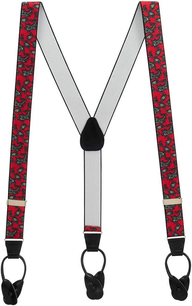 Men's Paisley Button Suspenders