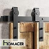 Homacer Sliding Barn Door Hardware Single Track Bypass Double Door Kit, 11FT Flat Track Classic Design Roller, Black Rustic Heavy Duty Interior Exterior Use