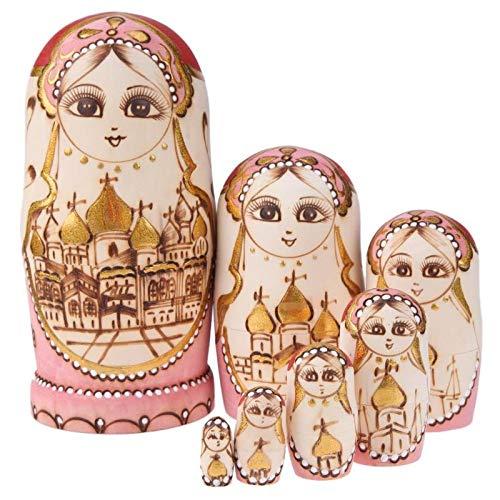 7 Stücke Russische Matryoshka Holz Nesting Dolls Burg Farbe Spielzeug Linden Holz Reine Handarbeit Kirche Burg Für Kid Weihnachten Geschenke