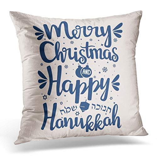 Jbralid Festival Hand Written Lettering with Text Happy Hanukkah and Merry Christmas Hanuka Pillow Cover Hidden Zipper Cotton Indoor Throw Pillow Case Cushion 18x18 in