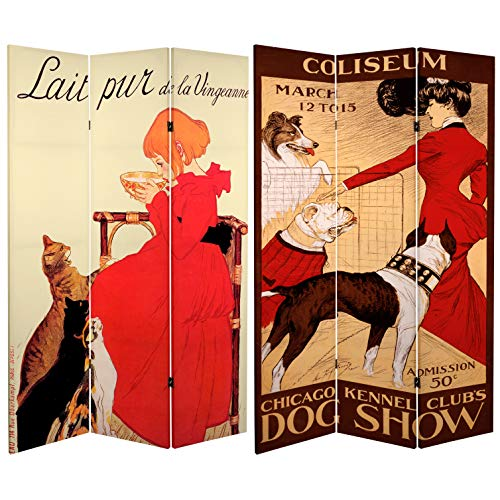 Oriental Furniture 6 ft. Tall Double Sided Dogs and Cats Room Divider