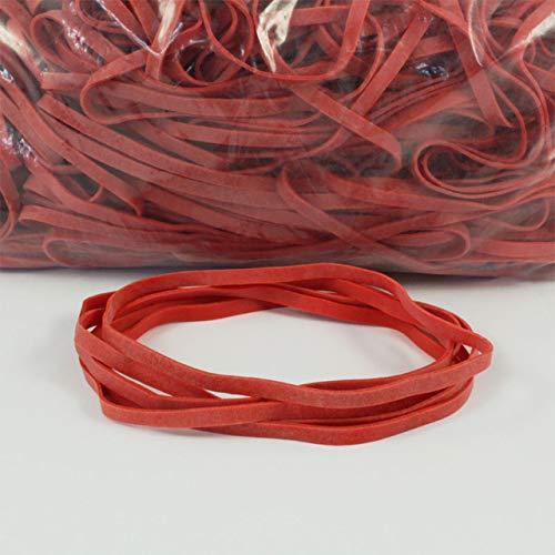Gummiringe rot | Dehnbar | Verschiedene Durchmesser | 1 kg Beutel | Gummibänder | Haushaltsgummis zum Bündeln, Fixieren oder Basteln / 100 mm, ca. 5 mm Breite