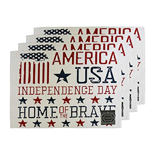 "Set of 4, American Flag Design Printed Tapestry placemats for Dining Table, Table mat for Dining Room Easy to Clean, Machine Washable Size: 13"" x 19"". (American Flag/USA)"