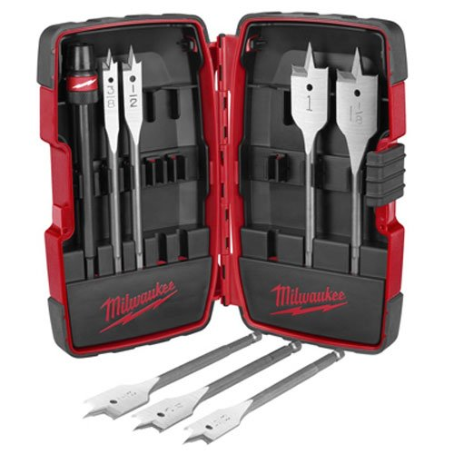 Milwaukee 49-22-0175 8-Piece Universal Quik-Lok Flat Boring Spade Bit Set w/ Carrying Case