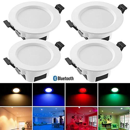 Bluetooth Mesh 9W Dimmbar LED Einbaustrahler RGBWC Deckenleuchte Lampe, Deckeneinbauleuchte für Bad, Wohnzimmer, Küche, ktv, Bars 4er set