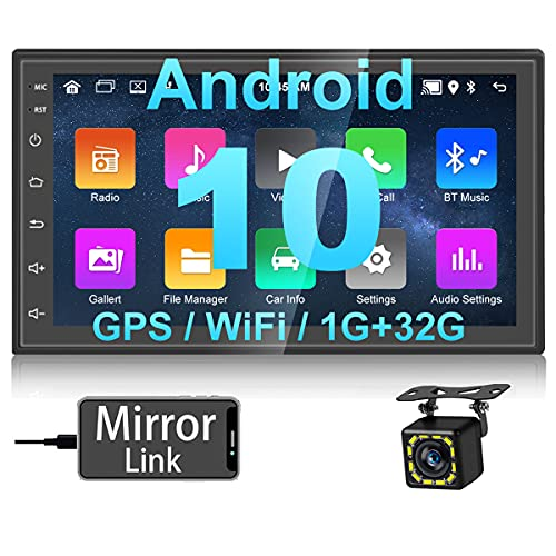 Hikity Android 10.0 Radio de Coche 2 DIN Navegación GPS In-Dash 7 Pulgadas HD Pantalla Táctil Coche Estéreo con Enlace de Espejo FM Bluetooth WiFi USB + Cámara de Visión Trasera